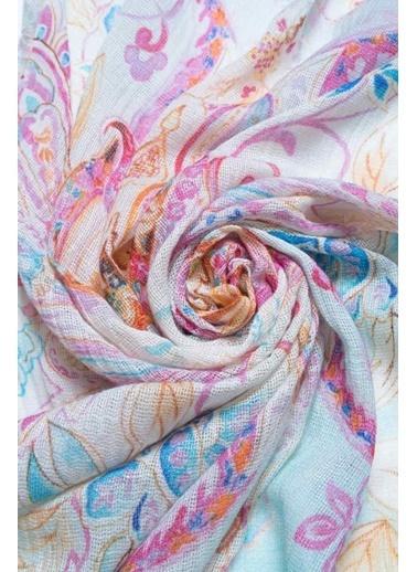 Silk and Cashmere İpek Karişimli Jas Çiçek Baskili Şal 70X180 Cm Mavi
